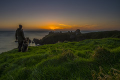 _JMK0173 (jimmckay77) Tags: dunnottar dunnottarcastle castle coast sun sunrise dawn morning clifftop cliffs mananddog observers watchers sky sea