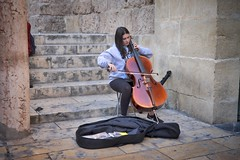 The cello player (f22photographie) Tags: cello celloplayer streetentertainment streetentertainer streetmusician musicalinstruments goldenhourlighting music steps marble bow woman joy cordoba spain
