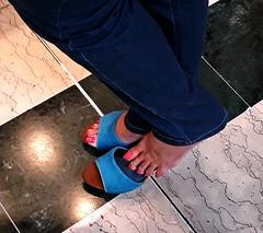 On my Blue Wooden Mules 04 (Mr Captain Morgan & La Capitana.) Tags: fetish feet foot soles heels sandals platforms clogs shoes mules slides shoeplay sexy pie pies zuecos solas mulas zapatos tacones füse fussohlen schuhe toeffler töffler holzclogs klox klogs kloks zoccoli rough cracked callous piede tacchi xsuole pieds talons tamancos sandalen sandalias dipping wrinkles dirty sandali scrunch scrunching toes highheels high wedge wedgies ankle chunky worn piedi wooden pedicure red shoeplaying milf cork smelly pantoletten calzado macrofotografía zapato