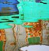 geometrie liquide (woolgarphilippe) Tags: square carré géométrie geometry liquide liquid agua eau water réflection reflection pissenlit flower fleur float floating flotte flottant rouille rust colors couleurs color colores couleur