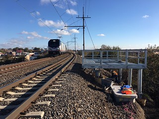 Concrete pour for Amtrak's 4.6 Case Platform at track level adjacent to active rail in Woodside, Queens. (CQ033, 11-15-2017)
