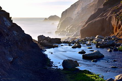 Stream & Ocean|Rockaway Beach, California (miltonsun) Tags: rockawaybeach longexposure dusk seascape bay ngc bayarea wave ocean shore seaside coast northerncalifornia westcoast pacificocean landscape outdoor clouds sky water rocks mountains rollinghills sea sand beach cliff nature creek highway1