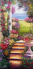 Garden Steps, Art Painting / Oil Painting For Sale - Arteet™ (arteetgallery) Tags: arteet oil paintings canvas art artwork fine arts flower flowers bouquet spring plant pink decoration leaf floral blossom tulip summer garden natural colorful arrangement fresh bright yellow bloom holiday celebration flora orange april valentine season freshness leaves bunch love present color grass day botany landscapes plants pastorals lime paint