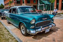 1955 Chevrolet 2 door [pst (kenmojr) Tags: 2017 antique atlanticnationals auto car classic moncton newbrunswick show vehicle vintage centennialpark downtown kenmo kenmorris carshow 1955 chevy chevrolet 2door coupe 2tone green