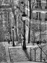Paris (Ruinenvogel) Tags: bw sw stairs staircase streetlife escaleras paris france