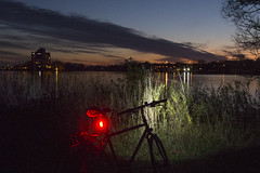 Night and day / Le jour et la nuit (Jacques Lebleu) Tags: light red twilight sunset river weed bike bicycle vélo bici