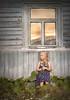 Window (olgafler) Tags: girl window sunset summer sun house bludress hands hair flower