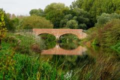 Elton Bridge (Jayembee69) Tags: nene river green tranquil northamptonshire countyborder cambridgeshire england english uk unitedkingdom gb britain british bridge arch reflection elton eltonbridge brick rivernene