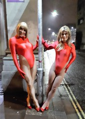 Me and Kat swinging in the rain last night (Miss Nina Jay) Tags: leotard trannie tights heels