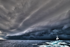 Kidd Under Clouds, variant (sjrankin) Tags: nimitzcarrierstrikegroup usskidd transit southchinasea storm clouds 9november2017 edited usn unitedstatesnavy ship ddg100 171105nvr5940248