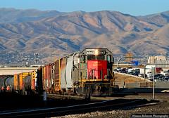 Going Nowhere Fast (jamesbelmont) Tags: midvale utah utahrailway sd50s yard railway freeway mountain interstate15