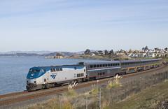 Sunday Morning on the Bay (imartin92) Tags: hercules california amtrak passenger train 729 capitolcorridor railroad ge generalelectric p42dc genesis locomotive sanpablo bay