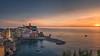 Italy - sunset at Vernazza (Toon E) Tags: 2017 italy laspezia cinqueterre italianriviera monterossoalmare vernazza corniglia manarola riomaggiore sunset travel panorama viewpoint water sea mediterranean sony 7rm2 zeiss sonyfe1635mmf4 orange blue