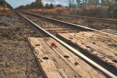 Track Ball (-liyen-) Tags: activeassignmentweekly redball findtheredball unsuccessfulcamouflage railwaytrack vanishingpoint autumn fujix100f bestofweek1 bestofweek2 bestofweek3 bestofweek4