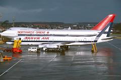 N8968U Douglas DC8-62 EGPK 11-01-86 (MarkP51) Tags: n8968u douglas dc862 dc8 arrowair jw apw airliner sunshine sunny prestwick airport pik egpk scotland aviation aircraft airplane plane image vintage kodachrome slide film scan aviationphotography
