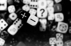 Probabilities (aandred) Tags: dice plus minus nerd geek fudge fate grain questionmark lofi scratch die