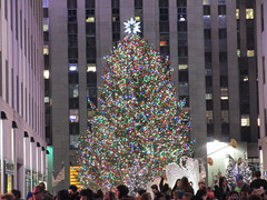 2017 Christmas Tree Rockefeller Center NYC 4477 (Brechtbug) Tags: 2017 christmas tree rockefeller center after lighting 12022017 nyc 30 rock new york city standing up above ice rink with snow shoveling workers skating holiday decoration ornaments night lights lites light oversize load ornament prometheus gold mythological statue sculpture fountain fountains post thanksgiving