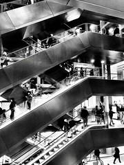 Escalator, Rome, Italy. (Massimo Virgilio - Metapolitica) Tags: italy rome monochrome blackandwhite architecture urban city escalator