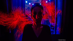 "I have a ""red"" soul (#Photosplus) Tags: lightpainting optic fibers fibres optiques france nantes couleur color red rouge rot roja blue bleu blau azul night nuit noche portrait retrato nikon d3s lpb tools lp light painting alexia soul photosplus photos plus maxime pateau"