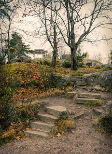 The stony staircase in the Monrepos park in Vyborg.