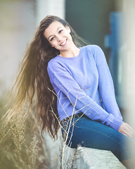 Featured Model: Ali (Abigail Harenberg) Tags: featuredmodelah feature featured model ah photographer photoshoots seniors teenagers girl woman outdoors outside out available day light fashion look gorgeous beautiful love cute purple long sleeve top jeans blue bushes nature concrete wall yellow