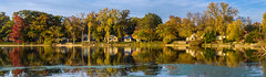Pond Pano (tquist24) Tags: elkhartriver goshen goshendampond indiana nikon nikond5300 outdoor autumn clouds fall geotagged reflection reflections river sky tree trees water unitedstates panorama panoramic