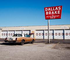 Dallas Brake & Alignment No.2 (BurlapZack) Tags: olympusomdem5markii olympusmzuiko17mmf18 vscofilm pack01 dallastx designdistrict dallasbrakealignmentno2 garage mechanic car classic red neon city urban afternoon wideangle iconic americana chevymontecarlo chevrolet automotive