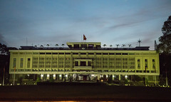 Reunification Palace in Saigon lit up at night. (apardavila) Tags: asia hochiminhcity reunificationpalace saigon southeastasia southernvietnam vietnam vietnamwar night nightphoto nightphotography travel