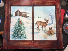 "sherrylpaintz a vintage framed glass window (sherrylpaintz) Tags: sherrylpaintz ""wildlife artist"" ooak original ""one kind"" realism realistic ""folk art"" wildlife country ""acrylic painting"" acrylic painted painting whitetail buck doe cardinal pinetree redbird ""hand saw"" ""wall crackle turquoise sky deer nature decorative design cabin winter snow landscape sunset sunrise"