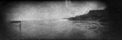 Along a Coastline #2 (LowerDarnley) Tags: expiredfilm pei princeedwardisland seaview incamerapanorama beach ocean rocks figure coast coastline atlanticcanada maritimes holga holgarama panorama dandipan modifiedcamera flippedlens relocatedlens