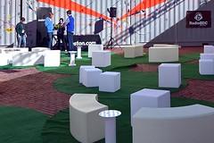 HUBweek (13) (AntyDiluvian) Tags: boston massachusetts cityhallplaza cityhall hubweek exhibition art science technology dome geodesicdome audience container shippingcontainer conversationpit blocks artificialgrass