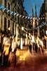 Le goût de la défaite (Fabrice Le Coq) Tags: vert flou rue street batiment ville piéton ombres silouhète jaune bleu rouge bougé cathédrale église ciel fabricelecoq
