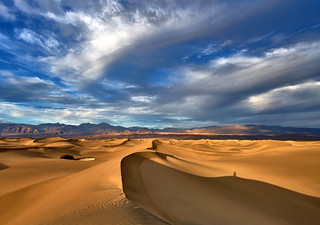 Mesquite Flat Sand Dunes - Sunset Panorama - Death Valley