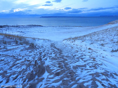 Winter Blues (JamesEyeViewPhotography) Tags: northernmichigan sand snow water lake michigan landscape sky clouds winter greatlakes sunset nature sleepingbeardunes nationallakeshore sleepingbearpoint november lakemichigan dunes grass jameseyeviewphotography