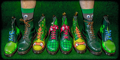TMNT Dr Martens. . . (CWhatPhotos) Tags: cwhatphotos photographs photograph pics pictures pic picture image images foto fotos photography that have which with contain tmnt teenage mutant ninja turtles turtle green boot dr marten martens airwair 1460 artistic art view wear foot feet yellow stitching docs dms doc dm eyes mask dm's boots oxbloods laces macro sockswitheyes socks eye