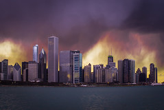 chaos obfuscating a clear blue sky (olsonj) Tags: chicago skyline city clouds storm sky architecture lake lakemichigan chaos weather buildings mood
