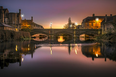 Stamford Dawn (unciepaul) Tags: stamfordmeadows lincolnshire dawn november sunday sunrise nikon d810 longexposure bridge reflections water riverside lights glow still tripod polariser filter iso 64 lightroom single image added topaz star effects