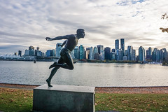 Views from the Vancouver Seawall (beyondhue) Tags: vancouver downtown seawall art bc bike path cycling architecture beyondhue city skyline runner sculpture autumn fall roadtrip harry jerome sprinter