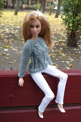Barbie doll clothes. Hand-knitted gray sweater pullover & white pants (uliakiev) Tags: barbie barbiedoll barbiedollclothes barbieclothes barbiesweater barbiecollector barbiecollection barbiefan barbiefashion barbieclothing barbiedolls barbieshop barbiestyle barbiestream barbiecrochet barbieknit dollclothes dollsweater dollknitting
