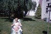 A Lady Lounging on the Lawn in 1965 (Alan Mays) Tags: ephemera slides transparencies photographs photos foundphotos colorphotos kodachrome women hair hairstyles clothes clothing sunbathing lawnchairs chairs aluminum webbed lawns yards backyards january 1966 1965 1960s old vintage vptp