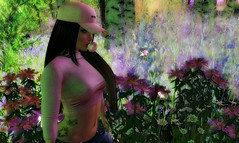 Beautiful escape (Spankymypony) Tags: pink hat cap hair flowers butterflies green trees bubble gum tattoo purple catwa bento maitreya forest fantasy glow avatar flickr secondlife brunette rebellion foxy addams picture photo people person woman