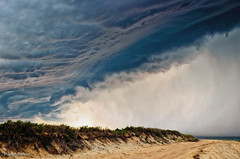 Storm Front (John Piekos) Tags: sand marthasvineyard storm edgartown clouds stormfront beach ocean chappaquiddick forboding stormcell jaws nikon thunder 365 d7000 rain capepoge shore