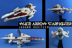 White Arrow Starfighter (Johann Dakitsch) Tags: science fiction scifi starfighter spaceship ship space fighter future toy custom moc lego system vic viper novvember sky