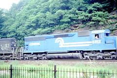 Conrail SD45 #6152 leads a train thru Horseshoe Curve on 7-13-79 (LE_Irvin) Tags: conrail horseshoecurve sd45