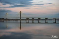 Clark Bridge Muted Sunset (Jae at Wits End) Tags: dusk evening phototechniques colorful clarkbridge lincolnshields dim cloudy reflection color sky twilight sunset longexposure mississippiriver clouds colors multicolored