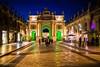 Arc Héré à Nancy (Bouhsina Photography) Tags: nancy stanislas france lorraine bouhsina bouhsinaphotography canon sigma street rue pietonne 5diii 35mm nuit couleur lumière bluetime bleu