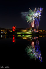 Caerphilly Castle (geraintparry) Tags: caerphilly castle castles british south wales cymru firework fireworks geraint parry geraintparry colours colour night dark sky reflection reflect water moat