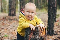 little smiling kid standing in the woods (ElenaZakh) Tags: 8monthsold small sunny day smile fun boy happy season autumn fall park childhood toddler outdoor cheerful girl joy happiness portrait beautiful foliage outside little cute lifestyle one positive colorful september orange playful child baby kid infant babe forest smiling sports nature freshair tree woodenbackground young