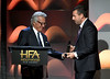 Honoree Adam Sandler (R) accepts the Hollywood Comedy Award for 'The Meyerowitz Stories' from actor Dustin Hoffman onstage during the 21st Annual Hollywood Film Awards at The Beverly Hilton Hotel on November 5, 2017 in Beverly Hills, California. (Photo by Kevin Winter/Getty Images)
