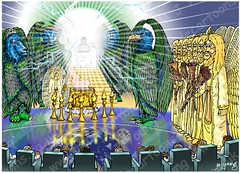 Revelation 08 - Seventh seal - Scene 02 - Angel with golden censer (Martin Young 42) Tags: revelation revelation834 god father lamb lambthatwasslain heaven throne throneroom scroll 7seals 4livingcreatures angels 7trumpets goldlampstands angelwithcenser goldencenser